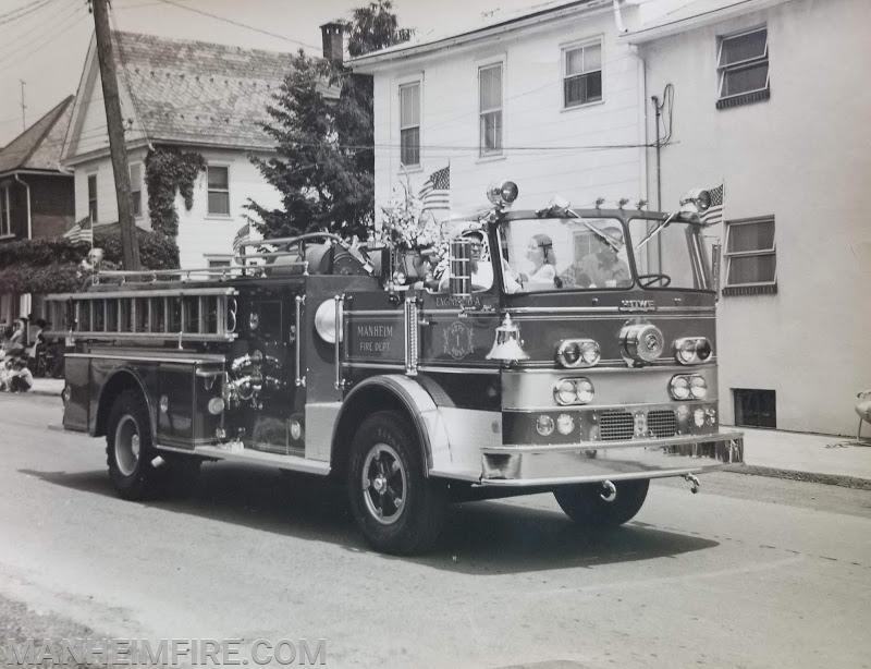 1970 Howe Pumper in parade in Manheim (undated).